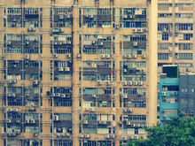 Exterior Of Apartment Building; Public Housing Estate In Hong Kong