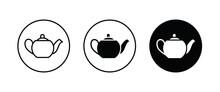 Hot Drink Sign. Coffee Pot Icon. Tea Glass Mug. Tea Pot, Kettle. Teapot Icons Button, Vector, Sign, Symbol, Logo, Illustration, Editable Stroke, Flat Design Style Isolated On White Linear Pictogram