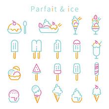 線画 3色アイコン パフェとアイス ミント