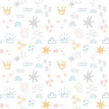 Scandinavian Seamless Pattern With Colorful Hand Drawn Organic Shapes, Clouds, Crowns And Other Doodle Elements. Vector Trendy Design Perfect For Prints, Flyers, Banners, Fabric, Invitations