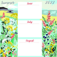 Drown By Hand Template For Summer Calendar