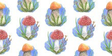Watercolor Autumn Mushrooms With Grass On A White Background. Seamless Pattern