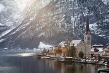 Hallstatt, Austria Dec 26,2017:scen Of Church And Hallstatt City In Winter Times Cover With Snow