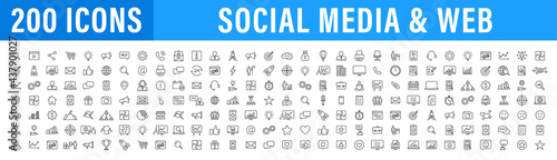 Photo Set of 200 Media and Web icons in line style