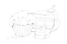 Kuchen Muffin Kirsche Zucker Torte Sahne Kaffee Petit Fours Freizeit Genuss Ferien Fest Törtchen