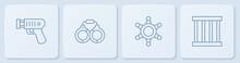 Set Line Police Electric Shocker, Hexagram Sheriff, Handcuffs And Prison Window. White Square Button. Vector