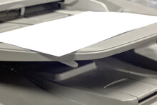Close-up White Paper Sheets On The Printer In Office.