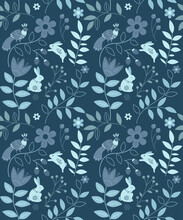 Vector Seamless Pattern Of Ethnic Floral Elements Rabbits And Bird In Blue  Colours Dark Background, Winter Cold Colour Scheme