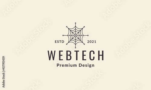 Slika na platnu lines vintage web spider logo symbol vector icon illustration graphic design