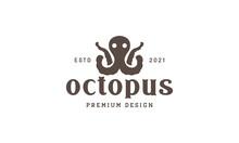Simple Octopus Vintage Logo Symbol Vector Icon Illustration Graphic Design