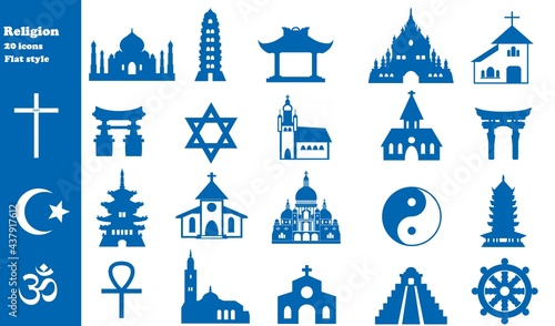 Obraz na plátně Religions en 20 icônes bleus, collection