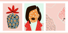 Fashionable Images Of Girls. Hand-drawn Young Beautiful Women. Set Of Three Bright Minimalist Pop Art Posters With Female Portraits, Abstract Patterns, Flowers, Pineapple, Leaves.