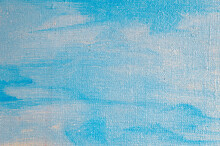 Creative Sky Background: Temporary Image Of Cloudy Blue Heaven On A Rough Canvas With Colored Primer