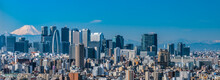 Wide Panorama Image Of Skyscrapers At Shinjyuku Area, Tokyo.