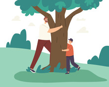Happy Father And Son Hugging, Love Tree, Playing Hide And Seek And Run Around. Family Characters Outdoor Recreation