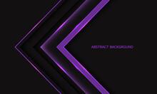 Abstract Purple Line Light Arrow Direction Geometric On Dark Grey With Blank Space Design Modern Luxury Futuristic Technology Background Vector Illustration.