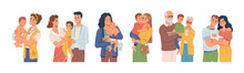 Parents And Grandparents Spending Time With Kids And Grandchildren. Happy Families, Childhood And Parenthood. Mom And Dad With Son, Woman With Daughter Toddler. Flat Cartoon Character, Vector