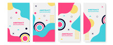 Modern Abstract Covers Set, Minimal Covers Design. Colorful Geometric Background, Vector Illustration. Colourful Red Black Magenta Orange Yellow Gradient Geometric Shape Background