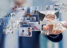 Businessman Touching Photo On Screen, Abstract Images Of Business And Finance Situations, Team Meeting, Shaking Hands, Travels