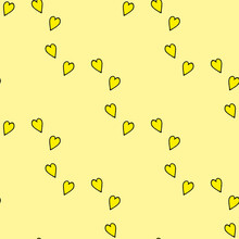 Seamless Pattern With Yellow Hearts On Light Yellow Background. Vector Image.