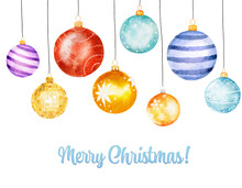 Set Of Watercolor Christmas Balls Isolated On White Background.