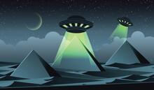 Cartoon Version Design Ufo Fly Pyramids Egypt Illustration