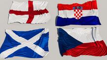 Euro 2020 Group D Flags On A White Background. England, Croatia, Scotland, Czech Republic.