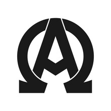 Alpha And Omega Symbol Glyph Icon. Clipart Image Isolated On White Background