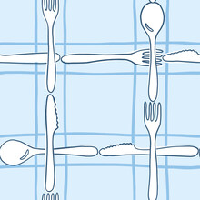 Cutlery Checkered Pattern In Blue - Hand-drawn Vector Seamless Pattern - For Kitchen  Fabric, Wrapping, Textile, Wallpaper, Background.