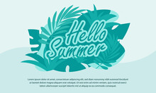 Hello Summer Time Holiday Banner With Leafs Illustration