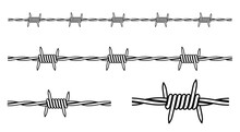Barbed Wire Outline. Isolated Barbed Wire On White Background