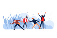 Protesters Throws Stones Toward Police During City Streets Riots. Youth Hooligans Protests, Fire Smoke Soot Street Fighting. Cartoon Flat Style Vector Illustration Isolated On White Background