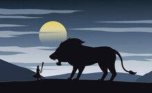 Silhouette Fiction With Knight Lion Illustration