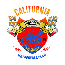 California Motorcycle Club. An Amazing Design For Motorcyclists. Draw And Text, Sublimation Design And Vector T-shirt Fashion Design.