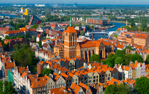 Fotografie, Obraz Aerial view of summer cityscape of Gdansk with tower of Gothic Church of St
