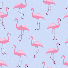 Flamingo Seamless Pattern With Hearts. Vector Background Design For Fabric And Decor..