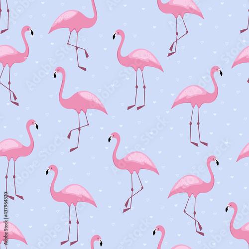 Flamingo seamless pattern with hearts Tapéta, Fotótapéta