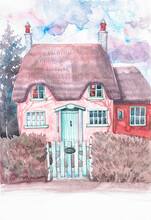 Traditional English Thatched Cottage - Country House Painted With Watercolor On Paper For Tourism Design.