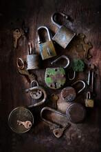 Old Rustic Locks On The Table