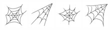 Spider Web Set. Hand Drawing Illustration, White Background, Art Line Style.