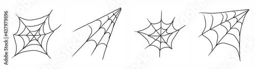 Fotografie, Obraz Spider web set