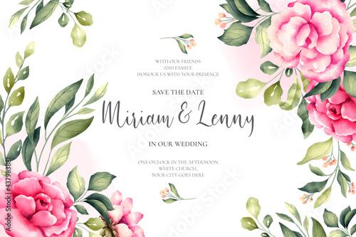Cuadros en Lienzo beautiful wedding card with pink flowers design vector illustration