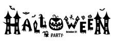 Happy Halloween Text Banner. Vector Illustration.