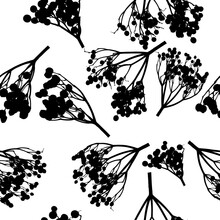 Twigs Seamless Pattern With Berries. Monochrome Print. Vector Illustration