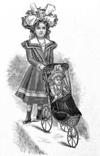 Little Victorian Girl Wearing Vintage Dress Engraved Illustration Doll