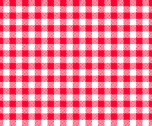 Red And White Checkered Background With Striped Squares For Picnic Blanket, Tablecloth, Plaid, Shirt Textile Design. Gingham Seamless Pattern. Fabric Geometric Texture. Vector Flat Illustration.