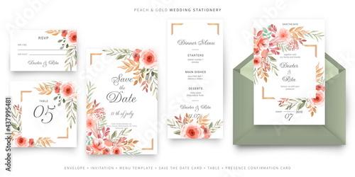 Fotografía green and pink wedding invitation card template stationery set
