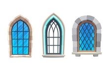 Window Of Medieval Castle Or Fortress Interior. Church, Cathedral Or Temple Exterior Element, Gothic Architecture Building Cartoon Vector Arch Windows With Metal, Wooden Frames And Stone Masonry