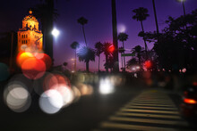 Blurred Light In The Night View Of Santa Monica BLVD And The City Of Beverly  Hills.
