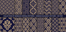 Set Of Ornate Vector Ornamenal Patterns. Vintage Classic Backgrounds Collection. 16 Damask Textures In Gold And Dark Blue Colors. Perfect For Invitations Or Announcements.